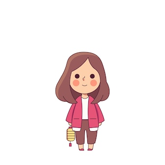 Red girl cute japanese style character vector illustration