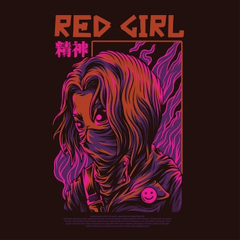 Red girl illustration