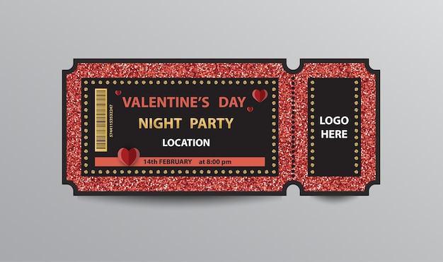 Red glittering ticket stub for valentine's day party.