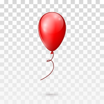 Red glossy balloon  on transparent background.  illustration