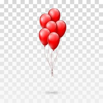 赤い光沢のある風船の束。透明な背景のイラスト