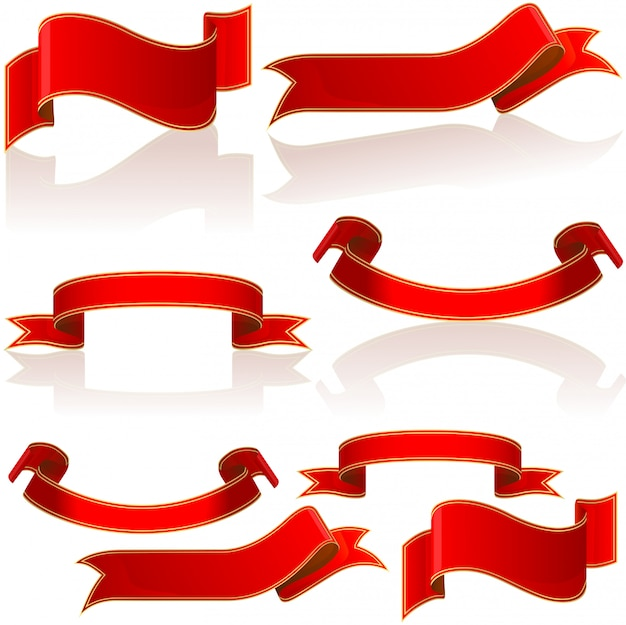 Red glossy banners and scrolls