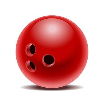 Красный глянцевый шар для боулинга, изолированные на белом фоне. иллюстрация