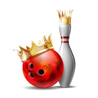 金色の王冠と赤い縞模様の白いボウリングピンが付いた赤い光沢のあるボウリングボール。スポーツ競技やアクティビティや楽しいゲームのための機器。白い背景で隔離の図