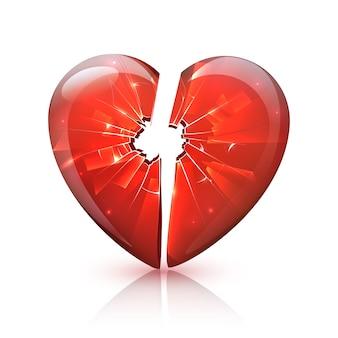 Красный глянцевый разбитый стеклянный значок сердца