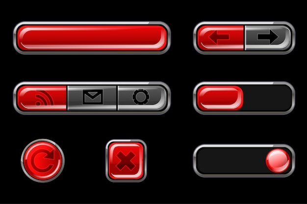 Red glossy buttons with return