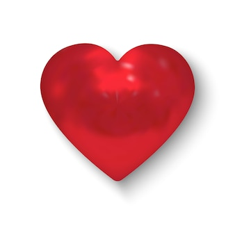 Red glossy realistic heart. vector illustration