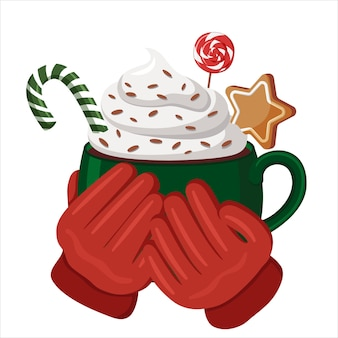 Red-gloved hands hold a green cup filled with hot cocoa, whipped cream and candy. christmas drinks.