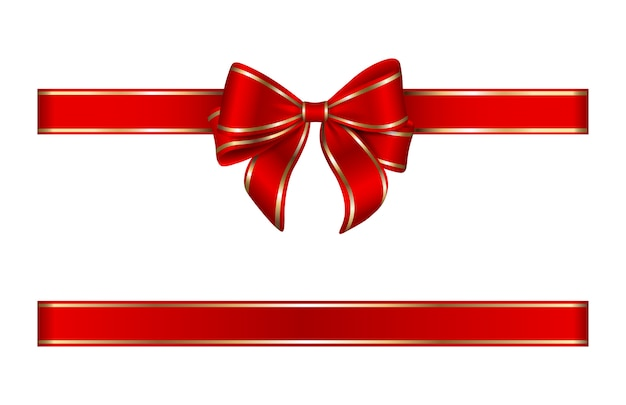 Red and gold bow and ribbon