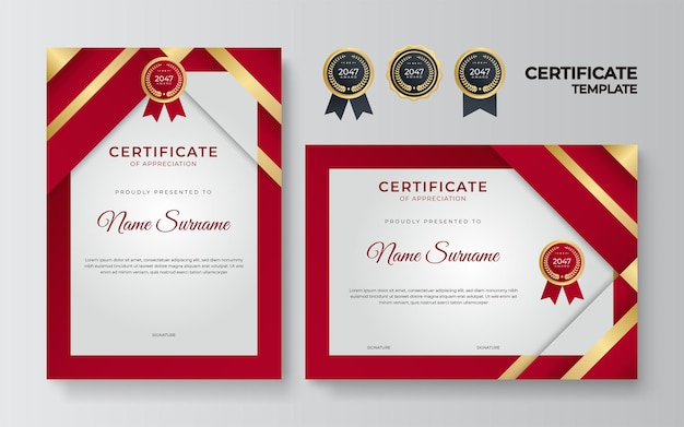 Red and gold certificate of achievement border template with luxury badge and modern line pattern. for award, business, organization, corporate, and education needs