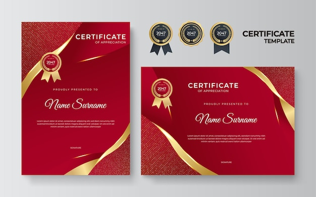 Red and gold certificate of achievement border template with luxury badge, wave pattern, modern line pattern. for award, business, organization, corporate, and education needs