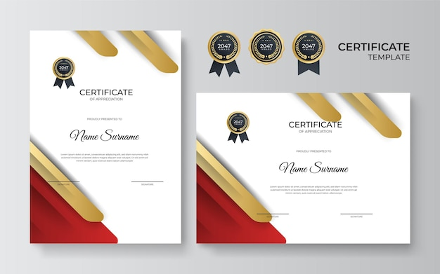 Red and gold certificate of achievement template with gold badge and border frame design