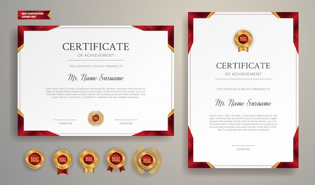 Red and gold certificate border template for business, diploma and education documents