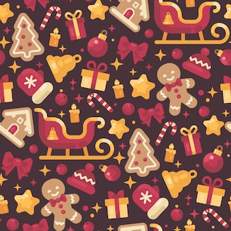 Red and gold christmas elements seamless pattern