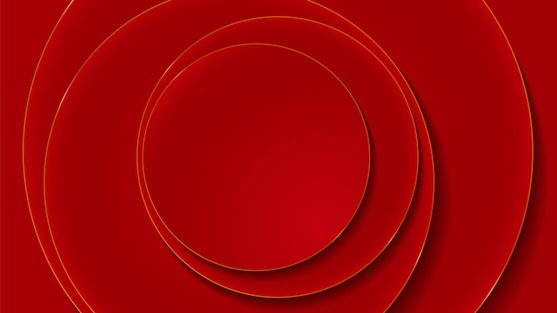 Red and gold circle layers abstract luxury background
