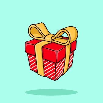 Red gold gift box art cartoon vector