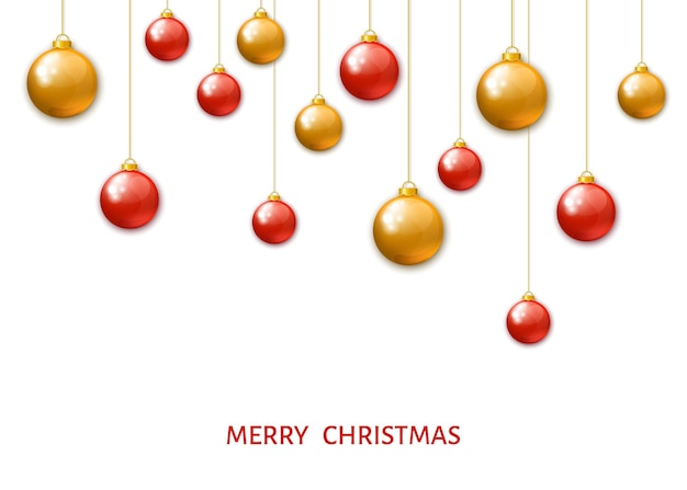 Red and gold  hanging christmas balls isolated on white background. xmas realistic baubles. vector holyday decorations.