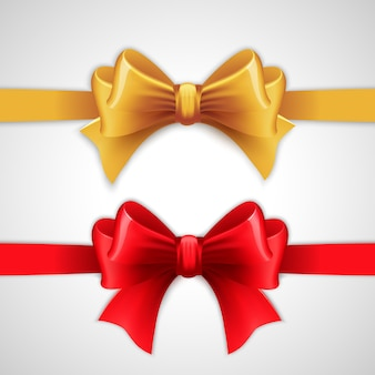 Red and gold holiday ribbon with bow