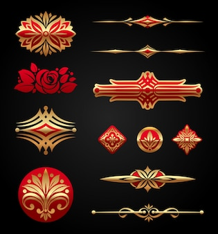 Red & gold luxury   elements