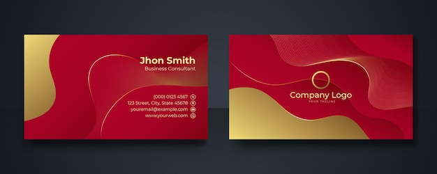 Red and gold modern business card design template, clean professional business card template, visiting card, business card template
