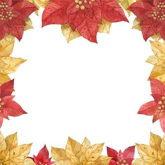 Красная золотая рамка пуансеттия