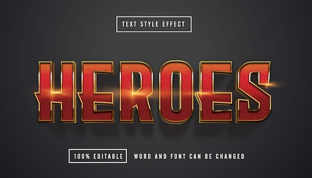 Red gold text effect editable