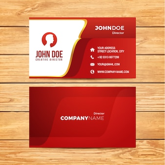 Red and golden business card
