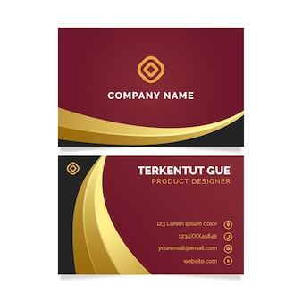 Red and golden business identity cards template