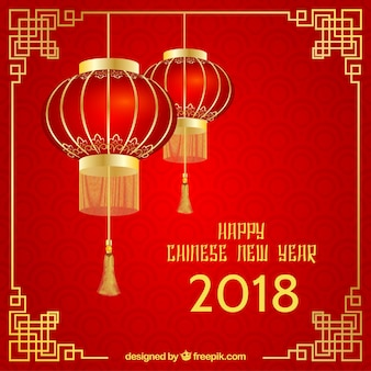 Red & golden chinese new year background
