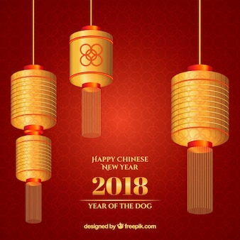 레드 & 골든 중국 새 해 배경