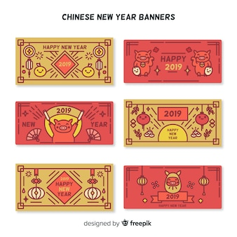 Red and golden chinese new year banners