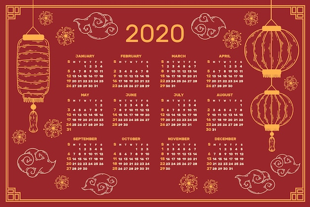 Red & golden chinese new year calendar