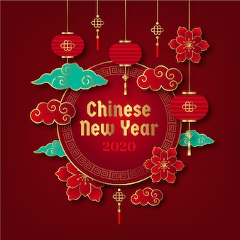 赤と金色の中国の旧正月