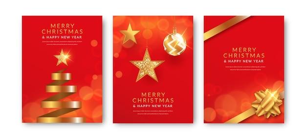 Cartoline di natale rosse e dorate