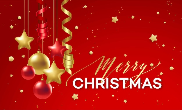 Decorazione natalizia rossa e dorata. illustrazione vettoriale eps10