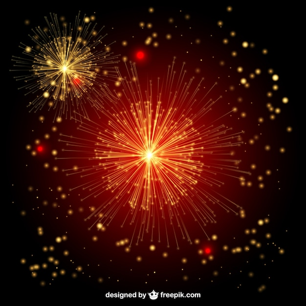 Red and golden fireworks