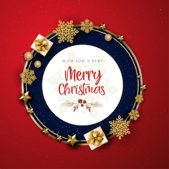 Red and golden merry christmas greeting card