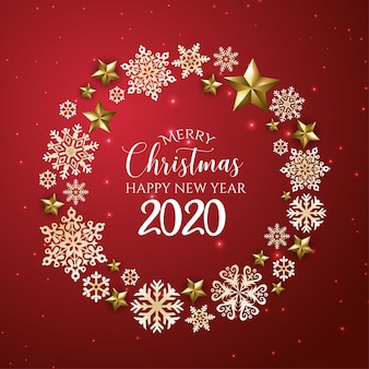 Red and golden merry christmas and happy new year 2020 greeting card