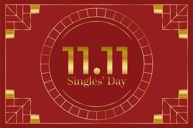 Red and golden singles day holiday background