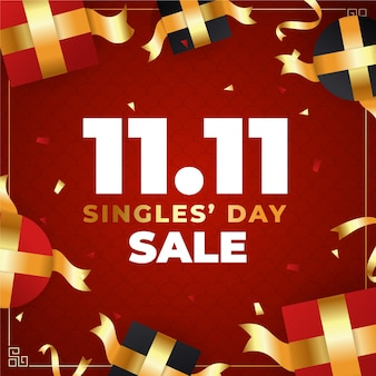 Red and golden singles' day illustration with gifts