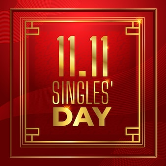 Red and golden singles day