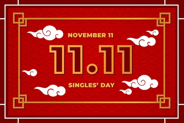 Red and golden style singles' day