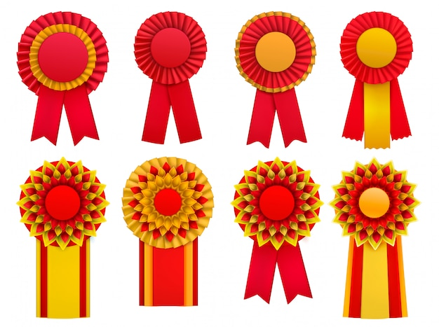 Red golden yellow decorative medal awards circulair rosettes badges lapel pins with ribbons realistic set