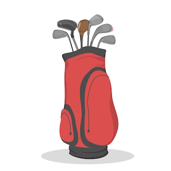 Red golf bag for clubs. sport game
