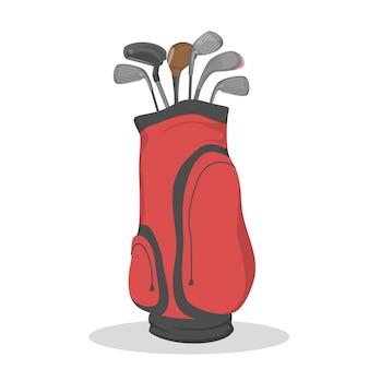 클럽을위한 빨간 골프 가방. 스포츠 게임