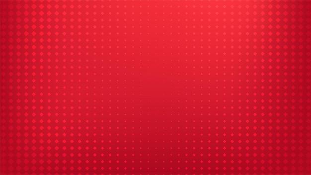 幾何学的な正方形のハーフトーンパターンポップアートコミックスタイルの赤いグラデーションの背景。