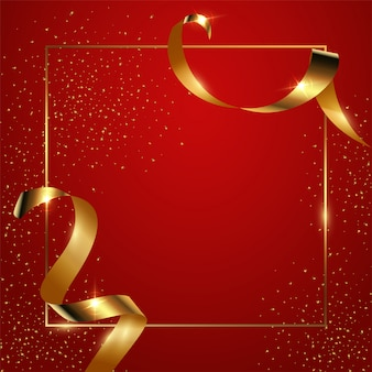 Red gradient background with thin geometric border and golden ribbons and confetti, glossy banner with copyspace