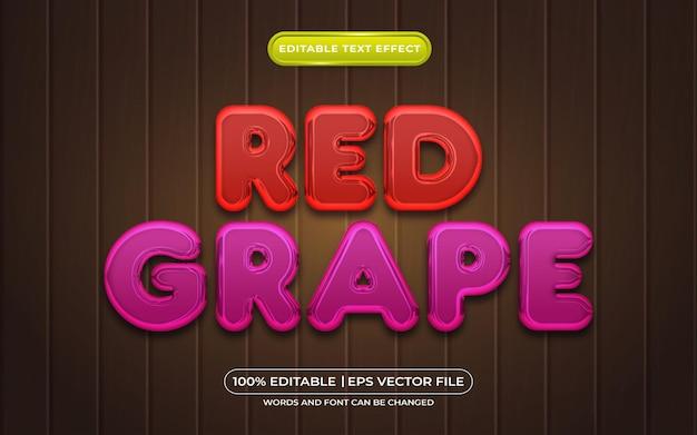 赤ブドウの編集可能なテキスト効果3d液体テンプレートスタイル