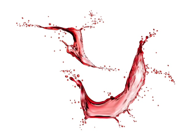Red grape wine or cherry juice isolated liquid swirl splash with splatters, vector. realistic fruit water or berry wine spill splash with pink flow wave. grape, strawberry or garnett juice drops whirl