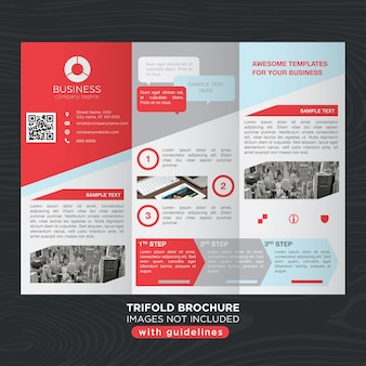 Red gray business trifold brochure layout template